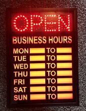 Illuminated Led Business Open Amp Closed Sign With Hours Multiple Pattern Light