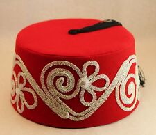 Velvet Felt Fez Hat Shriner Turkish Casablanca Moroccan Cap Costume Accessory