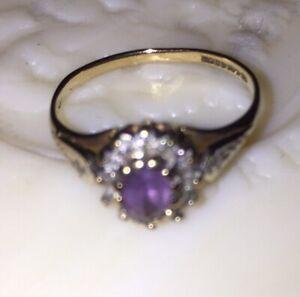 Vintage Amethyst Diamond 9K Gold Ring; Size K 1/2.