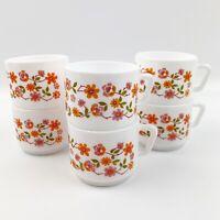 Vtg Arcopal France Orange Pink Cherry Blossom Floral 6 Stacking Coffee Mugs MCM