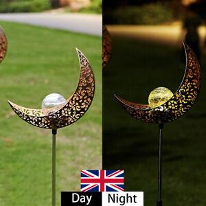 Solar Power Half Moon Crescent LED Stake Light White Garden Lawn Outdoor Lamp UK