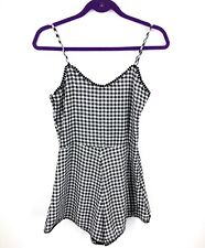 Emmelee Mod Cloth Romper Small Black White Checkered One Piece Scalloped Womens