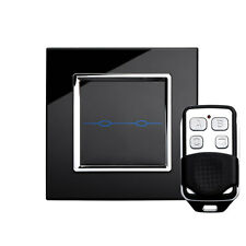 RetroTouch 00021 2 Gang Black Glass Remote Control Touch Light Switch with Fob