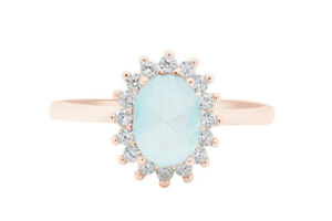 Oval Aquamarine & Round Simulated Diamond Halo Ring 14k Rose Gold Over Silver