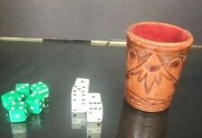 mid century Leather Dice Can / Shaker