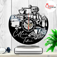 Coffee Time Clock for Kitchen Wall Vinyl Record Home Decor Coffee Lovers Gifts