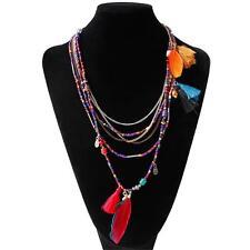 Fahion Women Feather Leaf Tassel Multilayer Pendant Long Bib Necklace Chain Hot Multi-color