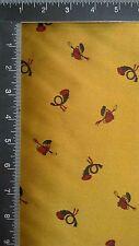 VTG Fabric/Jacket Lining 3 Yards GOLD SATIN/PRINTED Equestrian Crop/Helmet/Horn