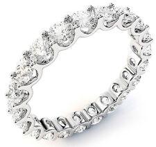 "3.00 ct Round Diamond Eternity Ring 18K White Gold Band 20 x 0.15 ct ""U"" shape"