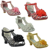 Kids Dress Sandals T-Strap Rhinestone Beaded Glit High Heel Little Girls Shoes