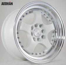 Aodhan AH03 15X8 4X100/114.3 +20 White Rims Fits Carrado Del So Civic Crx