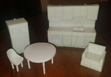 Vintage White Plastic Doll House Refrigerator / Kitchen / Round Table & Chairs