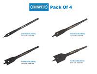 Draper Expert Flat Wood Impact 4 Piece Drill Bit Set 10,16,20,32 mm FREE P&P