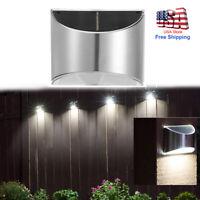 Solar Powered 4 LED Wall Lights Gutter Fence Outdoor Garden Lamp Waterproof 1Pcs