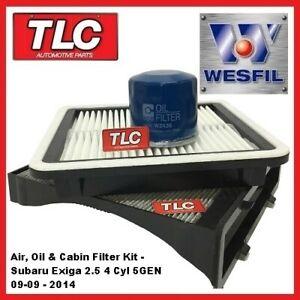 Wesfil Air Oil Cabin Filter Service Kit fits Subaru Exiga 2.5 4 cyl 5GEN 9/09 on