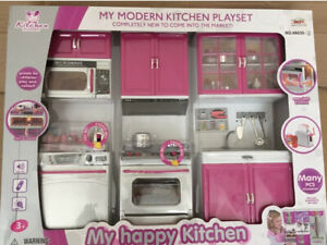 New Kids Modern Kitchen Girls Pretend Play Set With Lights and Sound Toy Gift