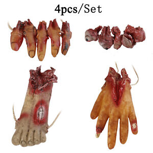 Halloween Bloody Scary Lifesize Severed Hands Feet Fingers Eyeballs Props String