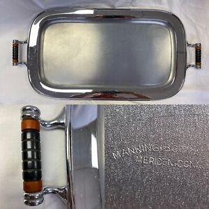"Antique Art Deco Manning Bowman Chrome Tray W/ Bakelite Handles Mid Century 22"""