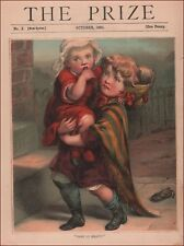 BIG SISTER CARRIES BABY TO HELP MOTHER, Antique Chromolithograph, Original 1886