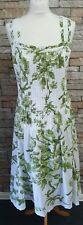 MARKS & SPENCER WHITE MIX FLORAL SLEEVELESS SUMMER DRESS SIZE 20L COTTON REF 35