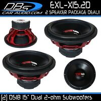 "2 DS18 EXL-X15.2D 15"" Subwoofers 5000W Max Dual 2 Ohm 15in Car Bass Speaker Sub"