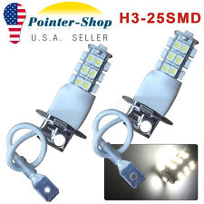 2X H3 3528 25 SMD White Xenon Bulbs for Car Fog /Driving /DRL LED Light Lamps US