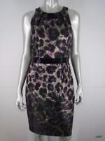 Carmen Marc Valvo Dress Sz 10 M Leopard Black Purple Animal Print Beaded Sheath