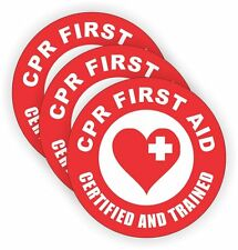 """CPR First Aid Certified (3 Pack) HardHat Sticker (size: 2"""" color: Red/White)"""