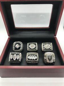 6 Pcs Raiders Super Bowl Championship Ring Set with wooden display box