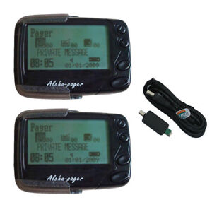 2pcs Programmable Alphanumeric Pager  POCSAG Pager Receiver and 1 Cable GP2009N
