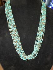 "Lovely Turquoise Gold Seed Bead Statement Adjustable 30"" Necklace"