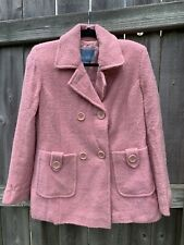 Nine West PeaCoat Size 8 Medium Pink Fuzzy Boucle Knit Pea Coat
