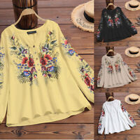 AU 8-24 Women Floral Print Top Tee Long Sleeve Blouse Ladies Button Up Shirt