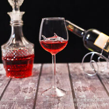 2pcs Red Wine Glasses Lead-Free Crystal Glass Shark Design Party Decor Gift