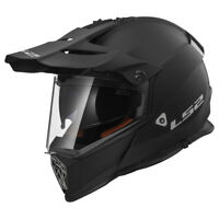 LS2 MX436 PIONEER SOLID MATT BLACK OFF ROAD MOTORCYCLE DUAL VISOR QUAD HELMET