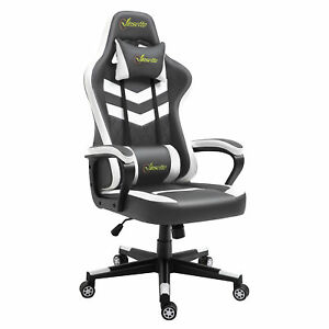 Gaming Office Chair High Back Ergonomic Faux Leather Lumbar Support Grey/White
