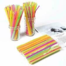 200 Plastic Neon Straws Coloured Flexible Bendy Birthday Party Drinking 300 100