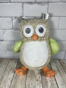 """Blankets & Beyond Rattle Stuffed Plush Baby Toy 12"""" Gray Owl Green Brown 2017"""