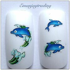 Nail Art Water Decals/ Transfers #123 Blue Dolphins