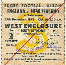 ENGLAND v NEW ZEALAND 25 Nov 1978 RUGBY TICKET GRAND SLAM TOUR FOR NZ