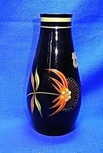 Mid Century Black Glass Handpainted Table Vase Flowers #AI
