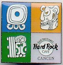 Hard Rock Cafe Cancun 1990s Hrc Logo Mayan Symbols Square Pin Hrc Catalog #1641