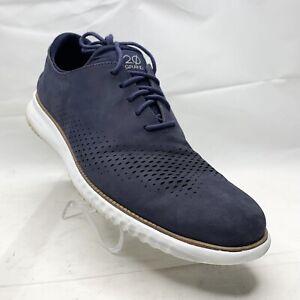 Cole Haan 2.0 Grand Laser Wing Oxford Marine Blue Suede C23806 Men Size 13