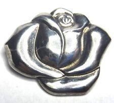 "Vintage 1 5/8"" Sterling Silver Rose Flower Brooch Pin"