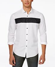INC International Concepts Men's Long Sleeve Lance Shirt, White Pure, XXL