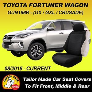 Car Seat Covers for Toyota Fortuner 7 Seater, 3 Rows 08/2015-Current Airbag Safe