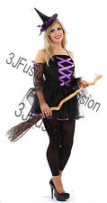 Adult Ladies Sexy Glamorous Witch Fancy Dress Costume Womens Halloween Horror EK