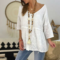 Ladies Loose Lace Tops 3/4 Flare Sleeve Women Solid Summer Casual T-shirt Blouse