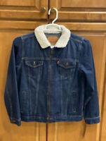 New Levi's Denim Jean Jacket Sherpa Lined Collar Size L (12-13 YRS) NWT Zippered