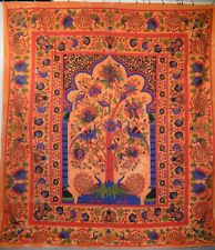 Hippie Indian Tree of Life Print Cotton Throw Orange Tie Dye 210 x 240cm